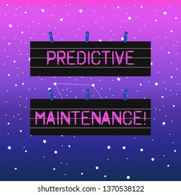 Handwriting text writing Predictive Maintenance. Concept meaning maintenance strategy driven by predictive analytics Two Color Blank Strip Size Lined Paper Sheet Hanging Using Blue Clothespin.
