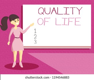 Handwriting text writing Quality Of Life. Concept meaning being in good health decent job Enjoying every moment