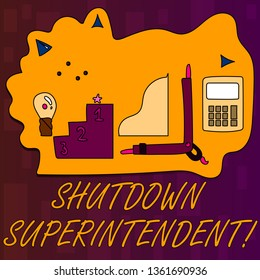 Handwriting text writing Shutdown Superintendent. Concept meaning demonstrating who analysisages organization or activity Set of Professional Goal Icons for Planning, Advancement and Recognition.