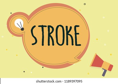 Handwriting text writing Stroke. Concept meaning act of hitting or striking someone or something blow mark made