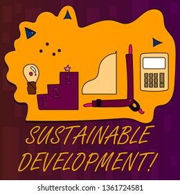 Handwriting text writing Sustainable Development. Concept meaning developing without depletion of natural resources Set of Professional Goal Icons for Planning, Advancement and Recognition.