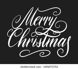 Handwritten Christmas greetings, modern festive calligraphy lettering for postcards. White isolated over black. Holiday season design illustration.