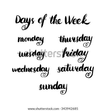 handwritten days week monday tuesday wednesdayのイラスト素材
