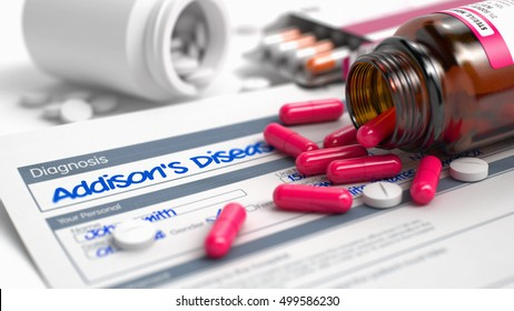 Handwritten Diagnosis Addisons Disease in the Medical History. Medicaments Composition of Blister of Red Pills, Blister of Pills and Bottle of Tablets. 3D Illustration.