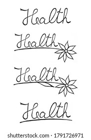 Handwritten health text with floral elements, useful for blog posts, cards, marketing materials.