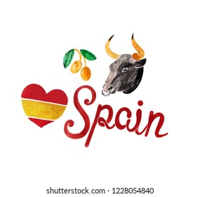 Handwritten Spain symbols lettering and bull head on white background. Unique raster typography and illustration in vintage style.