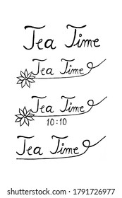Handwritten tea time words with floral elements, useful for blog posts, cards, marketing materials.