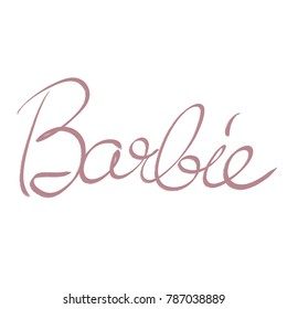 handwritten word Barbie