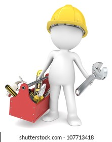 The Handyman. 3D little human character The Builder with a toolbox People series.