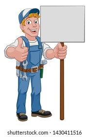 A handyman cartoon character caretaker construction man holding a sign and giving a thumbs up
