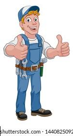 A handyman cartoon character caretaker construction man giving a thumbs up