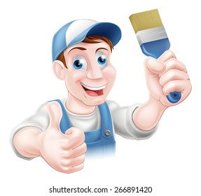 A handyman or decorator holding a paintbrush and doing a thumbs up