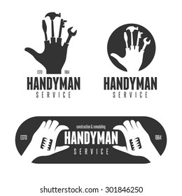 Handyman design element in vintage style for logo, label, badge, t-shirts. Carpentry retro illustration in high resolution.