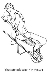 Handyman. Worker, cement or mortar mixer man with wheelbarrow. Line drawing. Cartoon suits coloring book.