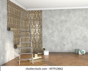 hang wallpaper; 3d illustration
