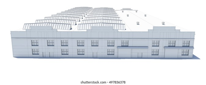 Hangar building. White wire-frame