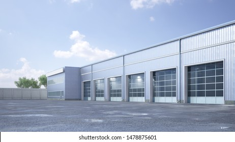 Hangar exterior with rolling gates. 3d illustration