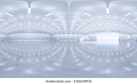 Hangar or industrial building interior. Protection with sliding door. Modern interior design with concrete floor, metal wall, roof structure and empty space for industry background. Panorama 3d render