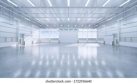 3D Rendering von leeren Hangar und Beton Boden und Verschlusstür, sauber und neu.