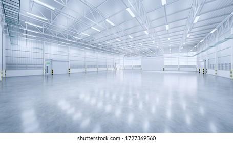 3D Darstellung von leerem Hangar und Betonboden und Verschlusstür, sauber und neu.