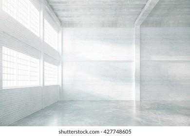 Hangar interior with brick walls, windows and concrete floor. 3D Rendering