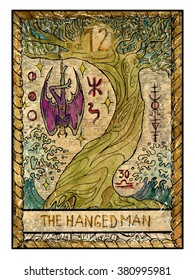 The hanged man. Full colorful deck, major arcana. The old tarot card, vintage hand drawn engraved illustration with mystic symbols. Vampire Dracula or demon hanging on the old tree.