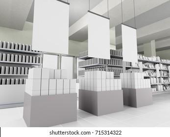 Hangers in supermarket. 3D rendering