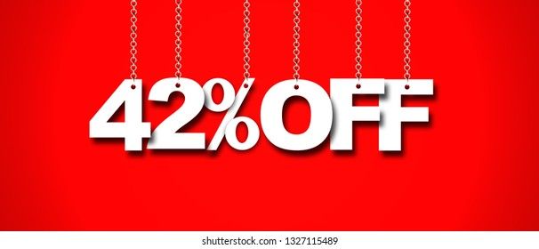 Hanging 42 Percent off 3d Sign on Red Background, Special Offer 42% Discount Tag, Sale Up to 42 Percent Off,big offer, Sale, Special Offer Label, Sticker, Tag, Banner, Advertising, offer Icon