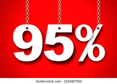 Hanging 95 Percent off 3d Sign on Red Background, Special Offer 95% Discount Tag, Sale Up to 95 Percent Off,big offer, Sale, Special Offer Label, Sticker, Tag, Banner, Advertising, offer Icon
