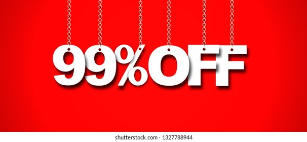 Hanging 99 Percent off 3d Sign on Red Background, Special Offer 99% Discount Tag, Sale Up to 99 Percent Off,big offer, Sale, Special Offer Label, Sticker, Tag, Banner, Advertising, offer Icon