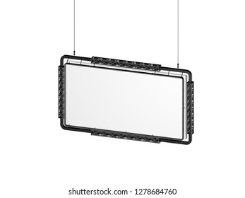 Hanging billboard. Isolated on white background. 3D rendering illustration. Dimetric projection.