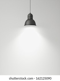 hanging black lamp with white wall, background