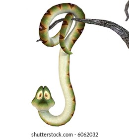 Hanging Cartoon Snake With Clipping Path / Cutting Path