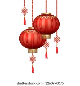 Hanging Chinese silk lanterns for Happy New Year. Decoration items for the festive compositions