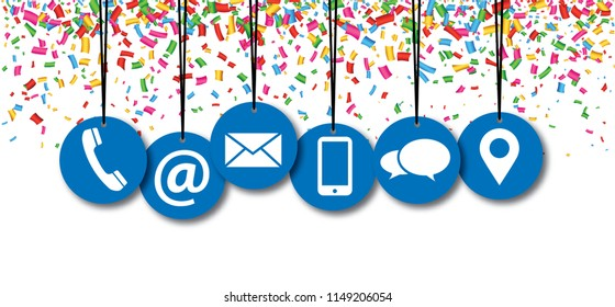 Hanging contact us symbols with confetti Social Media network icons contact us email at mobile signs fun funny People likes speech bubbles business Celebration Party whatsapp banner colour color app