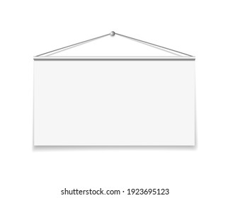 Hanging empty billboard or banner isolated on a white background. 3d rendering