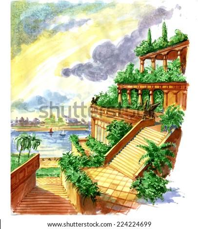 Hanging Gardens Babylon Stock Illustration 224224699 - Shutterstock