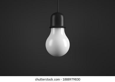 Hanging lamp. Energy saving light bulb. 3d rendering