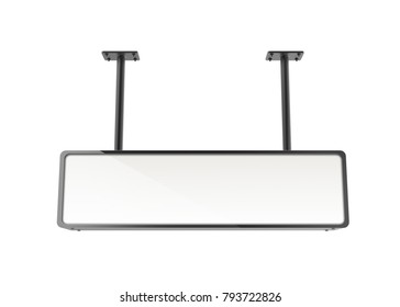 Hanging lightbox template, blank 3d render sign board with black frame