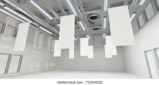 Hanging posters in from store ceiling. 3D rendering