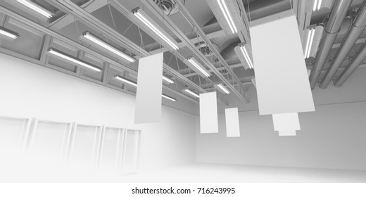 Hanging posters from store ceiling. 3D rendering