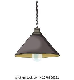 Hanging retro lamp. Illustration on white background