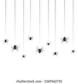 Hanging spiders. Halloween sing design set illustration