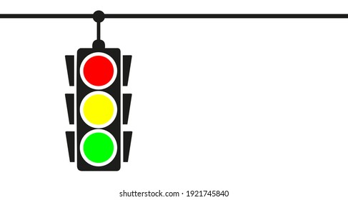 Hanging traffic light banner with white background
