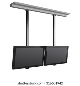 hanging tv display isolated on white