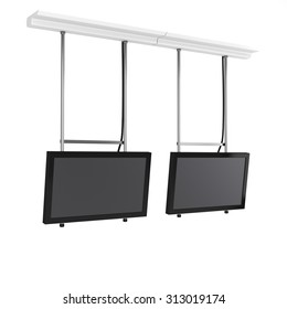 hanging tv displays from side view isolated