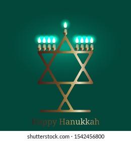 Hanukkah. 2-10 December. Concept of Judaic holiday. Traditional symbol - Menorah. Hexagonal star of David. Dark green background