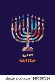 Hanukkah candles icon isolated. Jewish Festival of Lights celebration festive background with menorah symbol. Happy Hanukkah holiday greeting card template design element. Minimalist flat illustration