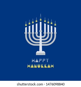 Hanukkah candles with light in night. Jewish Festival of Lights celebration, festive background with menorah symbol. Happy Hanukkah holiday greeting card template. Design element cartoon illustration