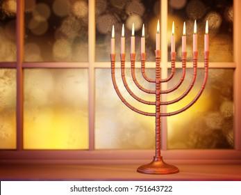 Hanukkah menorah with burning candles on defocused window glitter background. Traditional jewish holiday celebration greeting card concept. 3D illustration
